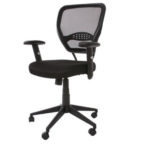 Mendler Profi-Bürostuhl Seattle, Chefsessel Drehstuhl, 150kg belastbar, Stoff/Textil ~ schwarz mit Armlehnen