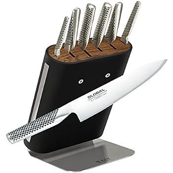 Global 7 Piece Knife Block Set Black Ss Block Amazon Co