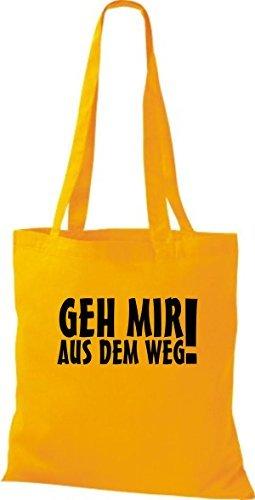 ShirtInStyle Stoffbeutel Geh Mir Aus Dem Weg! Fun Beutel Baumwolltasche Beutel, diverse Farbe yellow