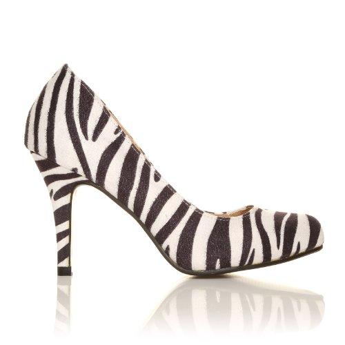 Pearl - Stöckelschuhe High Heels Zebra Muster Mikrofaser Stiletto Klassische Pumps Zebra-Muster