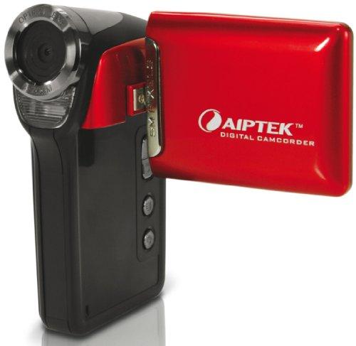 Aiptek T230 Camcorder (5 Megapixel, 4-fach Digital Zoom, 6,1 cm (2,4 Zoll) TFT Display, Micro SD/SDHC Kartenslot, AV-Out) rot