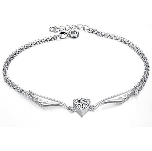 SonMo Damen Fußkette Vergoldet Angel Wing Heart Cut Zirkonia Knöchel Kette Bohemian Fußschmuck Einstellbar Zehenkette Silber