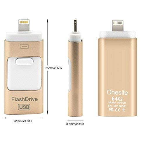 3 in 1 - chiavetta usb, drive di archiviazione esterna con connettore lightning, compatibile con pc, sistemi ios e android, iphone (gold 64 gb)