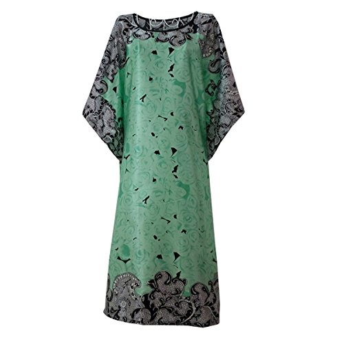 BigForest Femmes Batwing Sleeve Pullover Peignoir Satin Plus Size Pyjama robe set B green