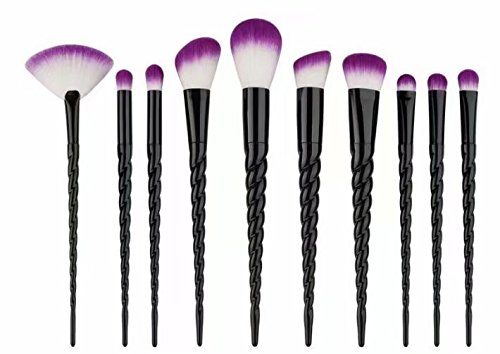 Waymeduo 10 unids cepillo de maquillaje unicornio cepillo en polvo contorno rubor corrector Fundación pinceles cepillo cosmético conjunto herramientas