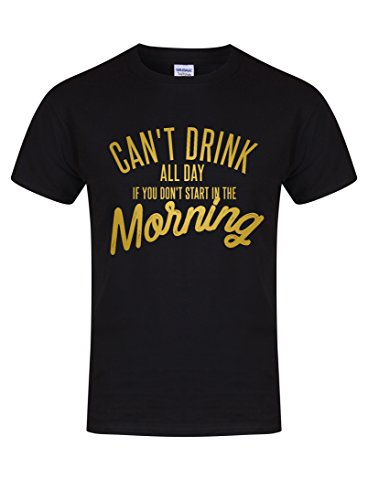 Can't Drink All Day if You Don't Start in The Morning - Unisex Fit T-Shirt - Fun Slogan Tee (Youth 5-6 Yrs - Chest 15 inches, Black/Gold) -