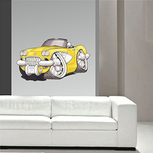 Koolart Cartoon American Muscle Design für 1950er Chevrolet Chevy Corvette C1 Wandkunst Sticker Abziehbild Kinderzimmer groß 70cm breit