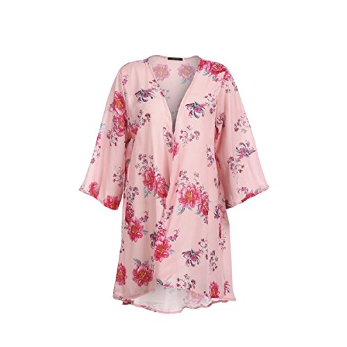 Minasan Summer Women Elegant Pink Floral Pattern Printed Cardigan Ladies Short Sleeve Lightweight Thin Long Cardigan Open Top M - Pink Floral Cardigan