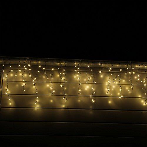 CLGarden LED Eisregen Lichterkette mit 600 Lichtervorhang warm weissen LEDs Eiszapfen Vorhang