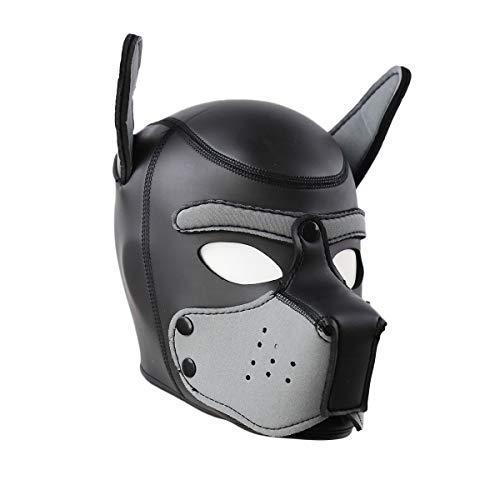 Lovearn Gepolsterte Welpenhaube aus Latex benutzerdefinierte Tier Kopf Maske Neuheit Kostüm Hund Kopf Masken Cosplay voller Kopf mit Ohren 10 Farbe (Grau)