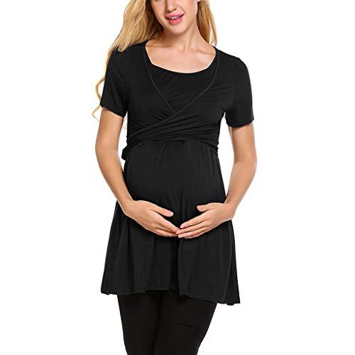 Likecrazy Frauen Mutterschaft Stillen Tops Damen Short Sleeve Umstandsnachthemd O-Ausschnitt Umstandskleid Pflege Schwangerschaft Mutterschaftskleid - Getrimmt Rock Anzug