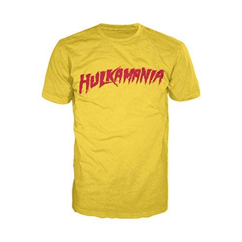 WWE Hulk Hogan Hulkamania Logo Official Men's T-Shirt (Yellow) (XX-Large) (Power Rangers Yellow Ranger Shirt)
