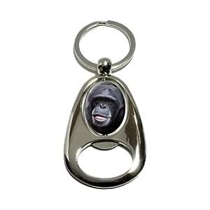 Chimpanzé Chimp–APE singe–Tourne en métal plaqué chrome ovale Conception décapsuleur porte-clés