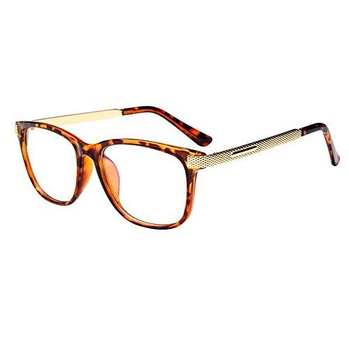 forepin Brille Metall reg; Klare Linse Brille Klassisch Damen Fensterglas Ohne Stärke Nerdbrille...