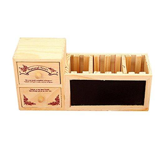 Mogist portapenne vintage intagliato, cassetto, design multifunzione, organizer da tavolo, organizer da scrivania, porta pennelli da trucco