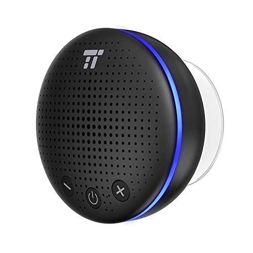 TaoTronics Altavoz Bluetooth Ducha Impermeable Inalámbrico con LED y Ventosa IPX7 Micrófono...