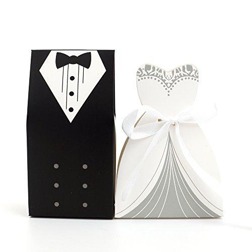 100 Hochzeit Brautkleid Anzug BRAUT & Bräutigam KARTONAGE Gastgeschenk Box Schachtel Bonboniere...
