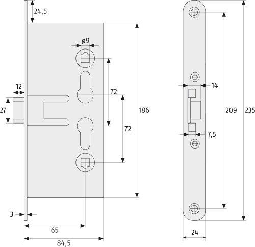 ABUS Einsteckschloss EFS65 für Feuerschutztüren, 21511 - 2