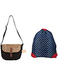 Rub & Style Hand Crafted Canvas Women Sling Bag & Drawstring Backpack Combo - B0757JKKLJ