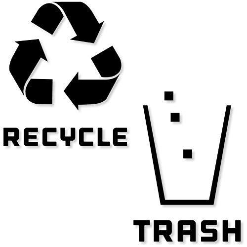 Recycling- und Mülleimer-Aufkleber, modernes Logo (1 Stück), Symbol zum Organisieren von Mülleimern oder Müllbehältern und Wänden, Vinyl-Aufkleber Medium - 8.25x8.25 Reversed - Black Glossy -
