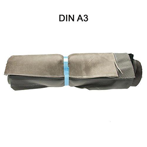 Lederreste Lederstücke extragroß A3 1kg Varianten von Grauen Farbtönen , alle Stücke mind. DIN A3 groß von Langlauf Schuhbedarf ®