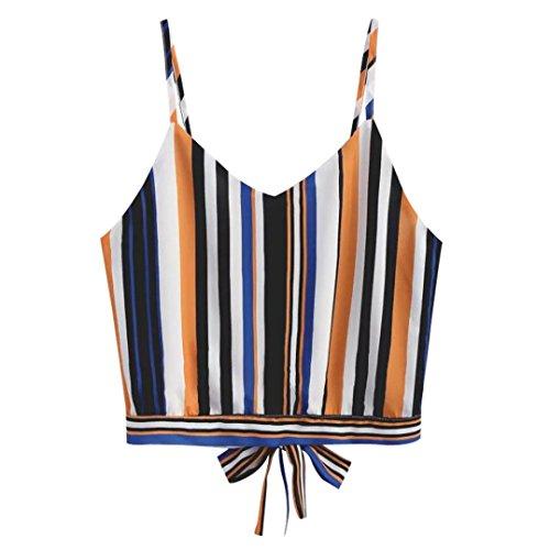SUNNSEAN New Mode Damen Sommer Stripe-Stil V Hals Gestreiften Camisole Trägershirts Tagless Top mit Dünnen Trägern Lose Modisch Damen T-Shirt Ärmellos Bluse (XL, Mehrfarbig)