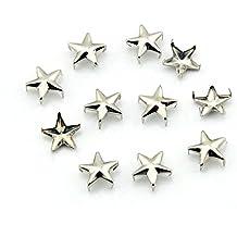 OOCOME 100pcs 10mm estrella de bricolaje Postes del metal de plata 5 Spots Prongs Nailheads Spikes para los zapatos Bolsa Jeans pulsera