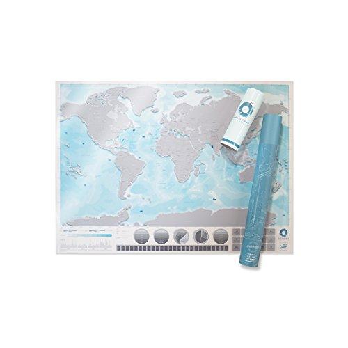 Große Welt Ozean Kratzerkarte - Personalisierte Welt Ozean Reisekarte - Kratzerkarte - Transparent & Buntes Kratz Poster - Ideal für Klassenzimmer & Reisende - Blau & Grau