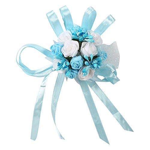 2er Hochzeit Braut Brautjungfer Blumenstrauß Gierland Handgelenk Frauen Mädchen Corsage Party Prom Dance Hand Handgelenk Blume Strauß Dekoration(# 2 Bleu + Blanc)