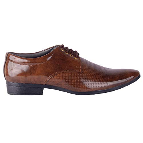 Port Men's Synthetic Leather Brown Lace Up Formal Shoes (8)