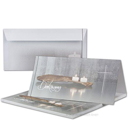 50 x Trauer-Set I Danksagungs-Trauer-Doppelkarten mit Umschlägen DIN Lang 21 x 19,8 cm I Hochglanz I Serie: Bianca