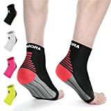 Rymora Plantar Fasciitis Socks Foot Compression Sock Sleeves for Men and Women - Relieves Pain - Supports Heel, Arch & Ankle (One Pair) (Black) (Large: 25-29cm Arch Circumference)