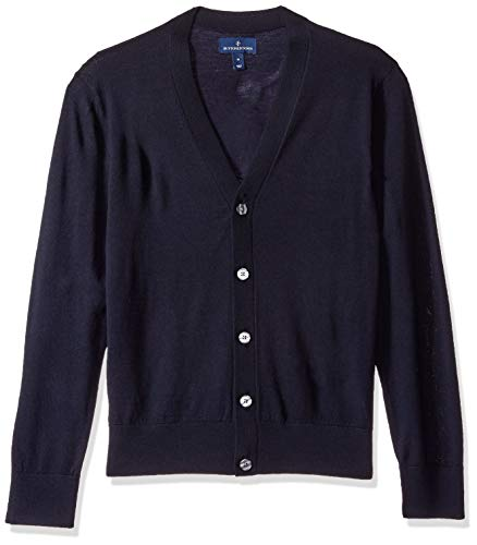Buttoned down cardigan in lana merino italiana uomo, blu (midnight navy mid), x-large
