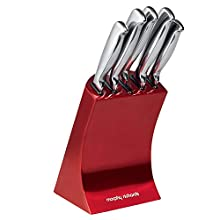 Morphy Richards Accents Knife Block, Satin, Stainless Steel Finish, Red, 5 Piece