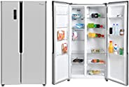 Super General 600 Liters Gross Side-By-Side Double-Door Refrigerator-Freezer, Digital Control, Silver, SGR710S