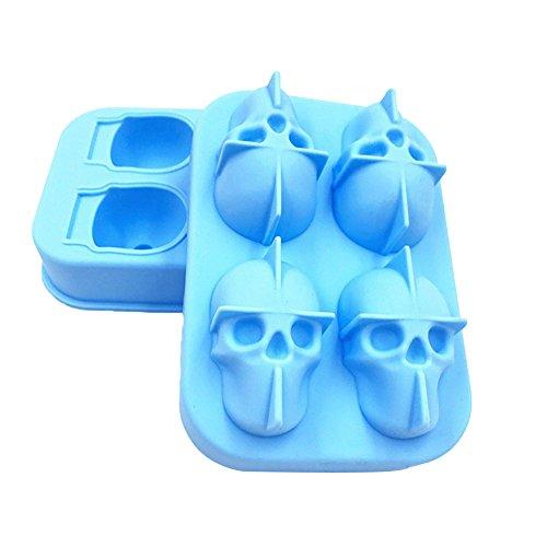 Homeofying 3D Halloween Totenkopf Kopf Silikon Schokolade Süßigkeiten Eiswürfelform Party Supplies himmelblau