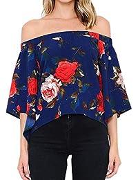 Mujer Blusa De Carmen Vintage Moda Floreadas Blusa Mangas 3/4 Barco Cuello Túnica Fuera