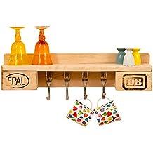 Küchenregal aus Paletten | rustikal für 4 Tassen | Gabelhaken | Palettenmöbel | Europalette | abgeschliffen | 60 cm x 15 cm x 12 cm