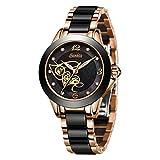 SUNKTA Montre Femme Imperméable Quartz Analogique Or Rose Céramique Regarder Mlle Fille Mode Élégant Robe Montre à Bracelet Ultra Mince Simple Noir Horloge
