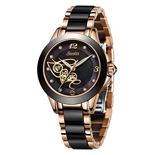 SUNKTA Frauen Uhren Wasserdicht Analog Quarz Rose Gold Keramik Armbanduhr Damen Mädchen Mode Elegant Beiläufig Kleid Uhr Schlank Einfachheit Geschäft
