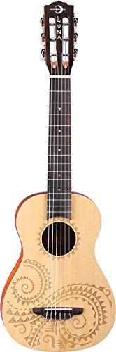 Luna Guitars UKE TAT 6 - Ukulele da concerto, a 6 corde, con design tatuaggio, satinato