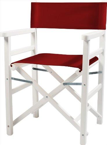 Moonich Regiestuhl Oscar, Holzfarbe: weiß, Stofffarbe: rot, schwarzer Aufdruck