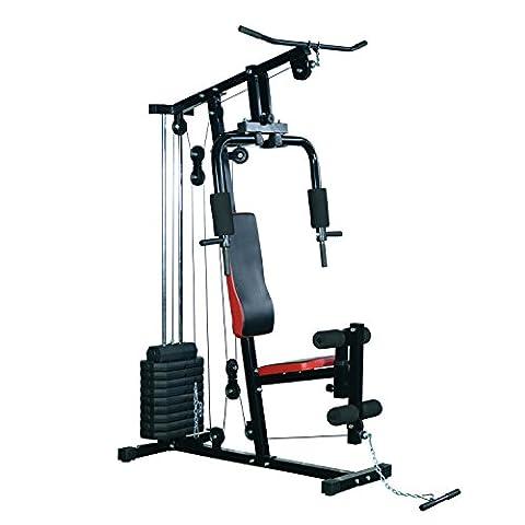 Station Appareil Banc de Musculation Multifontion avec Contrepoids Acier 1.25L x 1.06l x 2.05Hm Noir et Rouge Neuf 39