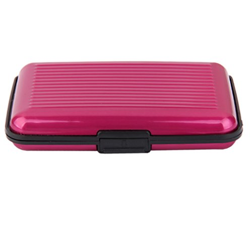 Mini Porte Carte de Crédit Etui à Rayures en Aluminium Etanche pour Carte d'Identité - Rose Rouge