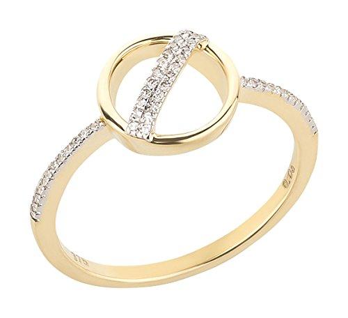 Ardeo Aurum Damenring aus 375 Gold Gelbgold mit 0,06 ct Diamant Brillant Kreis-rund-Form Verlobungsring
