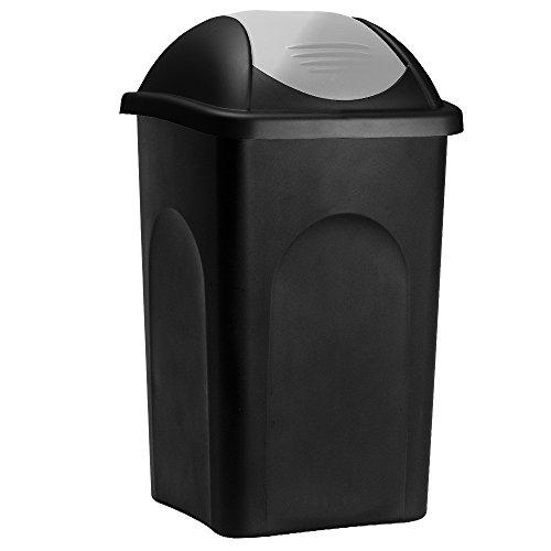 Stefanplast Abfalleimer mit Schwingdeckel 60L schwarz/silber 68x41x41cm - Mülleimer Abfallbehälter Papierkorb made in Italy