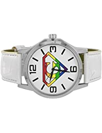 Gay Pride LGBT Rainbow White Diamond White Leather Watch Special Sale
