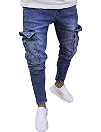 f1979a7f Luismes Mens Cargo Combat Blue Coated Denim Jeans Pants with Side Big  Pockets Mens Stretch Denim Pant Distressed Ripped Freyed…