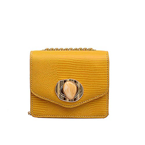 TIFIY Damen Rucksack Damenmode Niet Pure-Color Cover Retro Umhängetasche Flap Bag Arbeits Täglich Bankett Elegant Tasche(Gelb) -