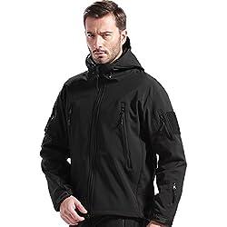 Free Soldier Chaqueta para deportes al aire libre, con tejido Softshell y forro polar, con capucha, para hombre, chaqueta de caza, hombre, color negro, tamaño L